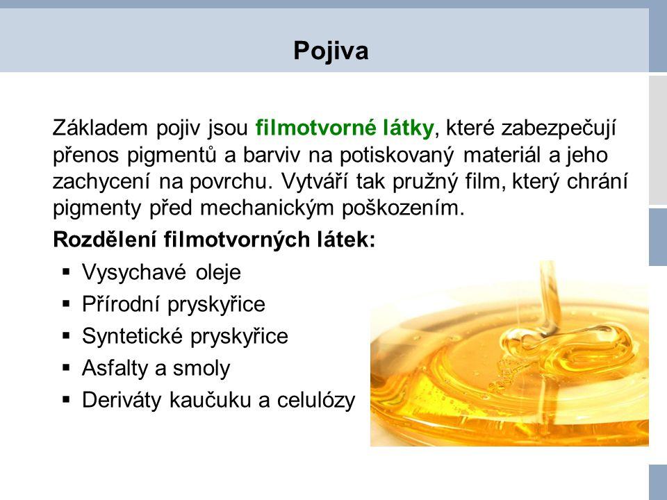 Pojiva Základem pojiv jsou filmotvorné látky, které zabezpečují přenos pigmentů a barviv na potiskovaný materiál a jeho zachycení na povrchu. Vytváří