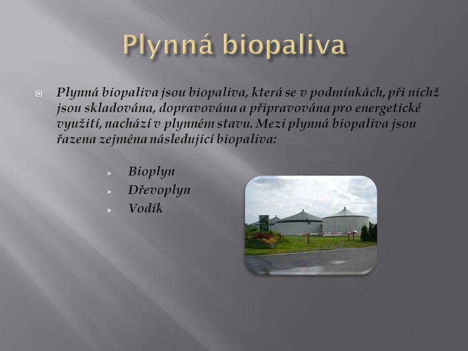  Plynná biopaliva jsou biopaliva, která se v podmínkách, při nichž jsou skladována, dopravována a připravována pro energetické využití, nachází v ply