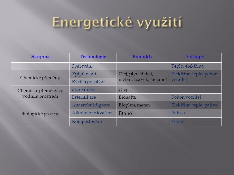 SkupinaTechnologieProduktyVýstupy SpalováníTeplo, elektřina Chemické přeměny ZplyňováníOlej, plyn, dehet, metan, čpavek, metanol Elektřina, teplo, poh