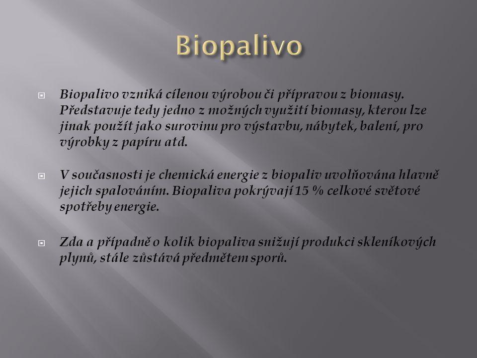  Biopalivo vzniká cílenou výrobou či přípravou z biomasy. Představuje tedy jedno z možných využití biomasy, kterou lze jinak použít jako surovinu pro