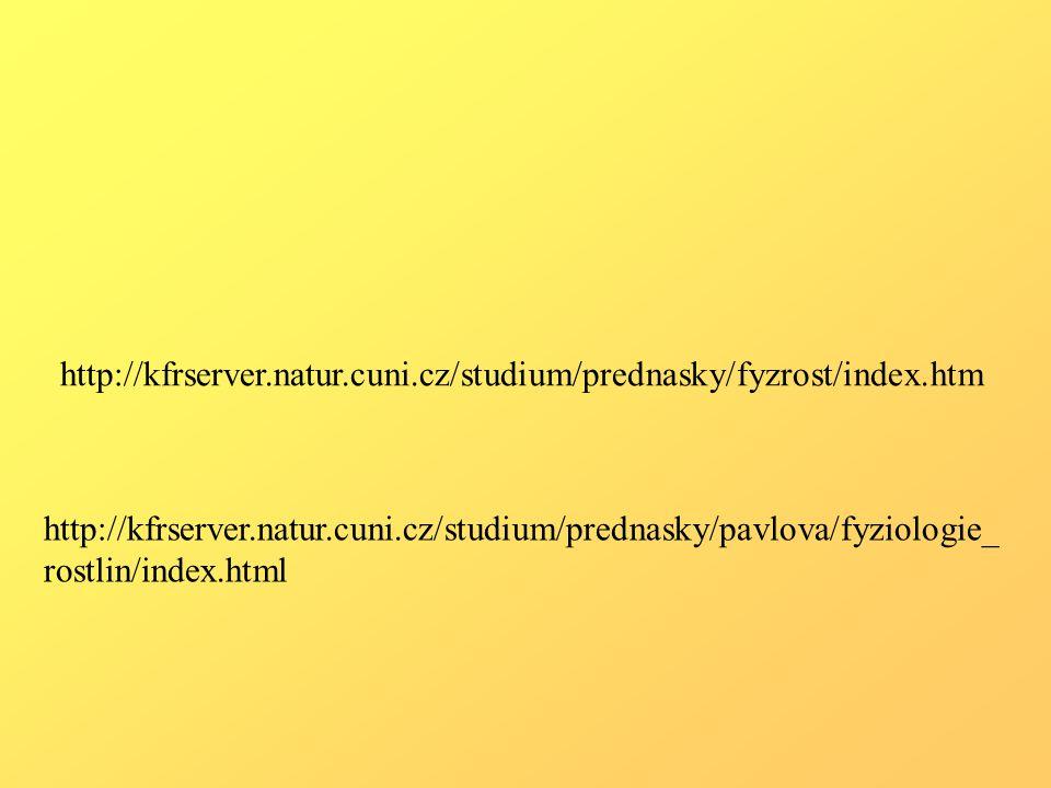 http://kfrserver.natur.cuni.cz/studium/prednasky/fyzrost/index.htm http://kfrserver.natur.cuni.cz/studium/prednasky/pavlova/fyziologie_ rostlin/index.