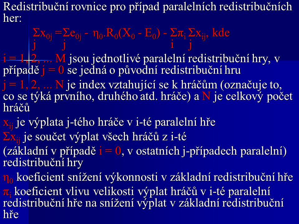 Redistribuční rovnice pro případ paralelních redistribučních her: Σx 0j =Σe 0j -η 0.R 0 (X 0 - E 0 ) - Σπ i Σx ij,kde jj i j i = 1, 2,...