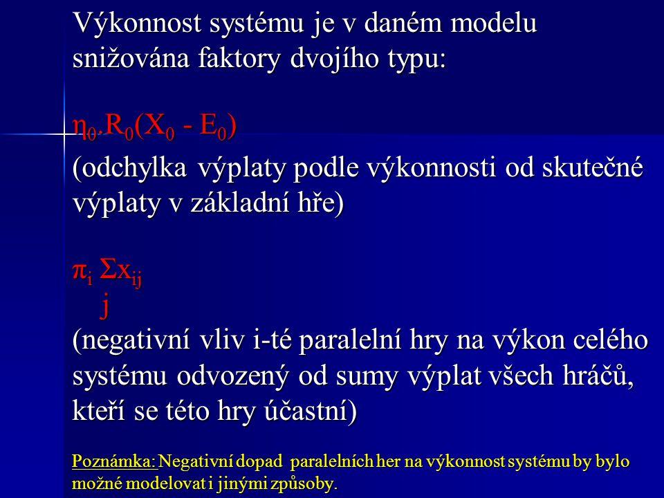 Výkonnost systému je v daném modelu snižována faktory dvojího typu: η 0.R 0 (X 0 - E 0 ) (odchylka výplaty podle výkonnosti od skutečné výplaty v základní hře) π i Σx ij j (negativní vliv i-té paralelní hry na výkon celého systému odvozený od sumy výplat všech hráčů, kteří se této hry účastní) Poznámka: Negativní dopad paralelních her na výkonnost systému by bylo možné modelovat i jinými způsoby.