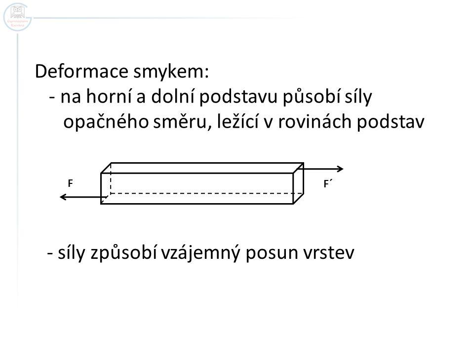 Deformace smykem: - na horní a dolní podstavu působí síly opačného směru, ležící v rovinách podstav FF´ - síly způsobí vzájemný posun vrstev