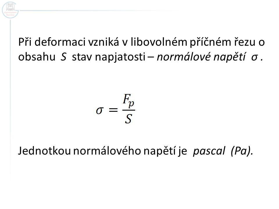 Při deformaci vzniká v libovolném příčném řezu o obsahu S stav napjatosti – normálové napětí σ. Jednotkou normálového napětí je pascal (Pa).