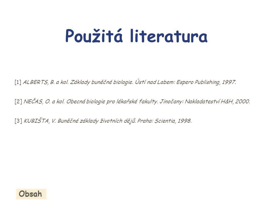Obsah Použitá literatura [1] ALBERTS, B. a kol. Základy buněčné biologie. Ústí nad Labem: Espero Publishing, 1997. [2] NEČAS, O. a kol. Obecná biologi