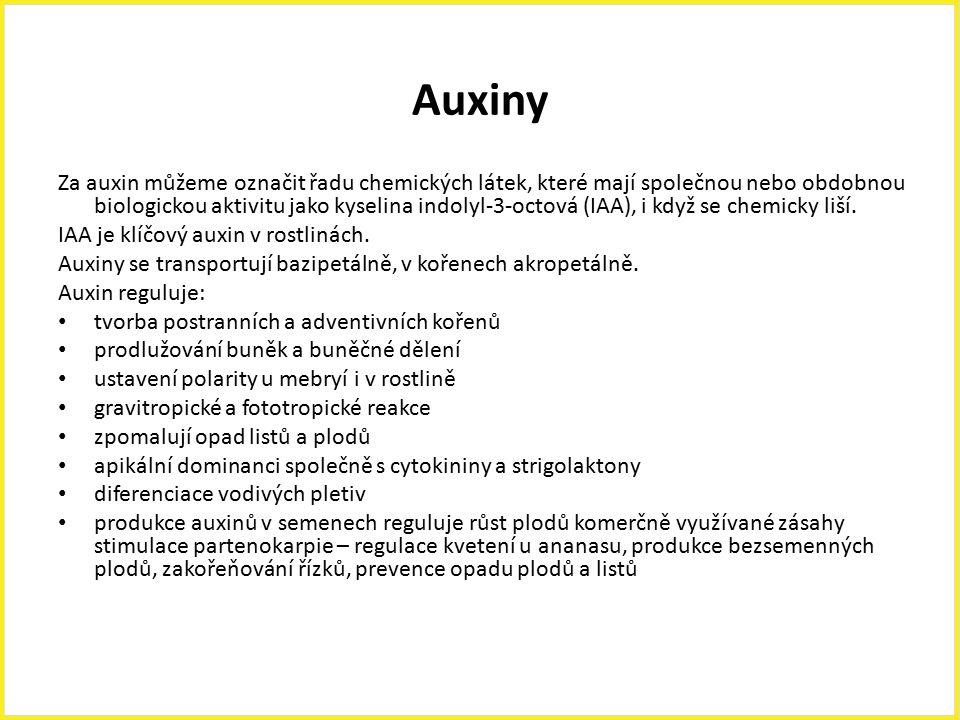 Auxiny Za auxin můžeme označit řadu chemických látek, které mají společnou nebo obdobnou biologickou aktivitu jako kyselina indolyl-3-octová (IAA), i