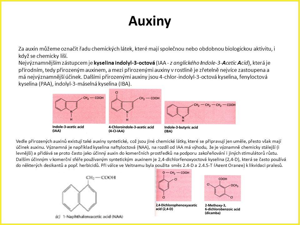 Auxiny Za auxin můžeme označit řadu chemických látek, které mají společnou nebo obdobnou biologickou aktivitu, i když se chemicky liší. Nejvýznamnější
