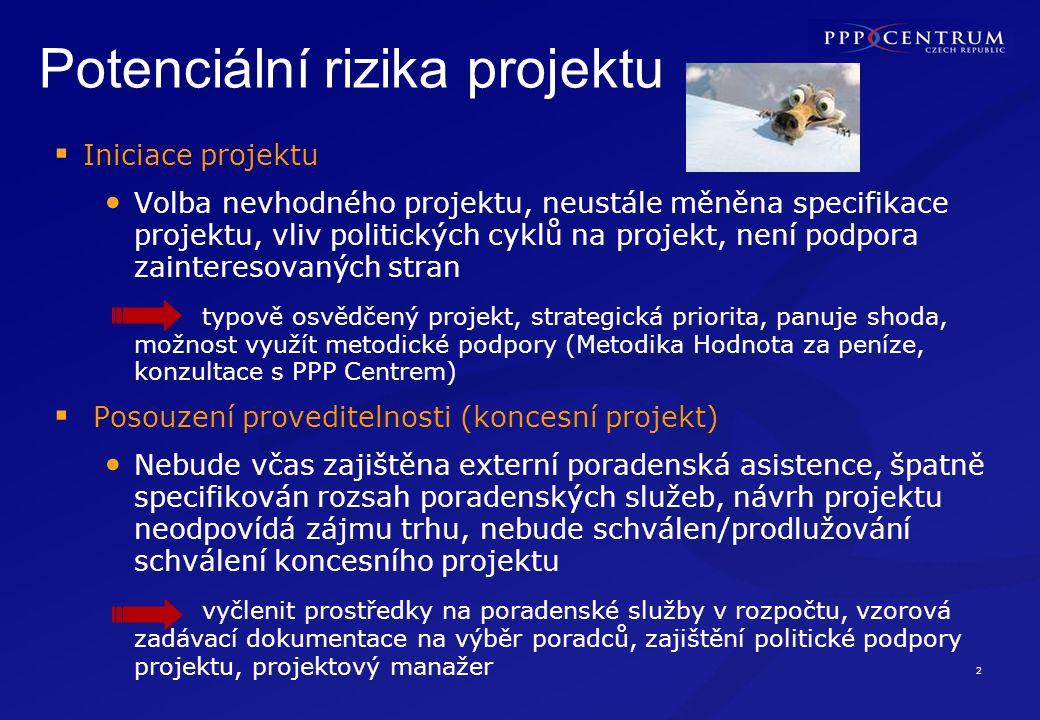 2 Potenciální rizika projektu  Iniciace projektu Volba nevhodného projektu, neustále měněna specifikace projektu, vliv politických cyklů na projekt,