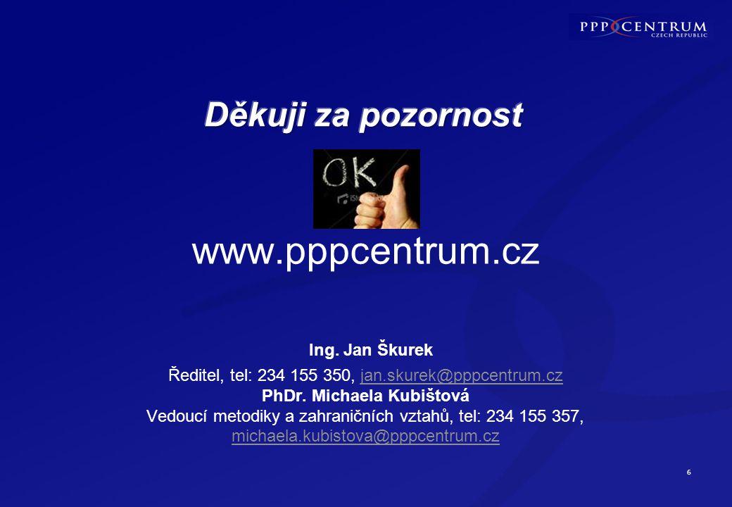 6 www.pppcentrum.cz Ing. Jan Škurek Ředitel, tel: 234 155 350, jan.skurek@pppcentrum.cz PhDr. Michaela Kubištová Vedoucí metodiky a zahraničních vztah