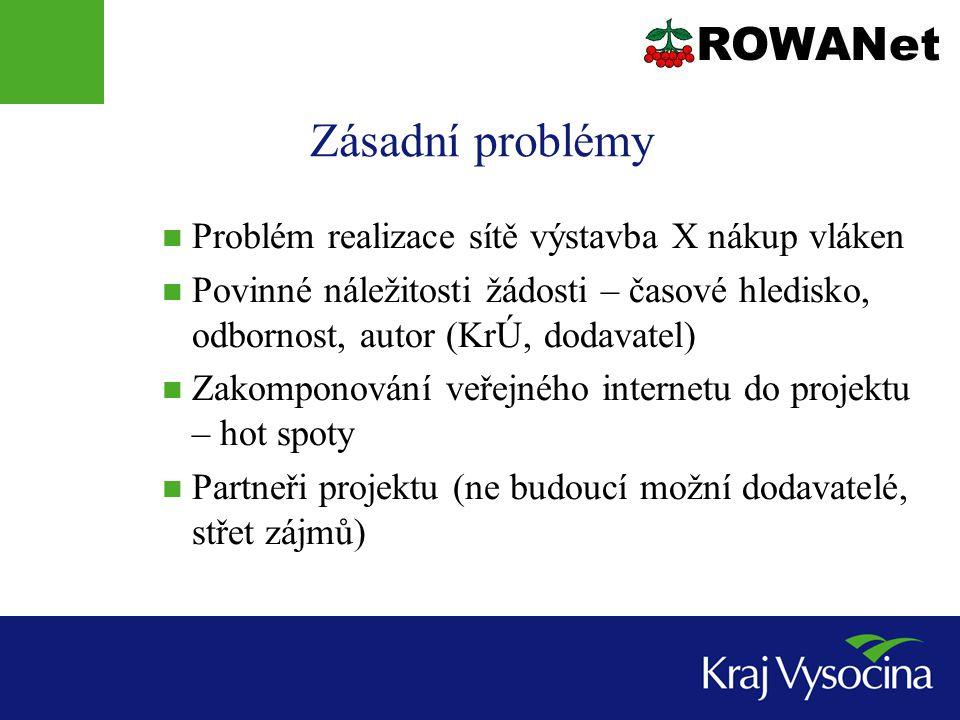 Zásadní problémy Problém realizace sítě výstavba X nákup vláken Povinné náležitosti žádosti – časové hledisko, odbornost, autor (KrÚ, dodavatel) Zakom