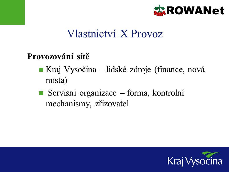 Vlastnictví X Provoz Provozování sítě Kraj Vysočina – lidské zdroje (finance, nová místa) Servisní organizace – forma, kontrolní mechanismy, zřizovatel