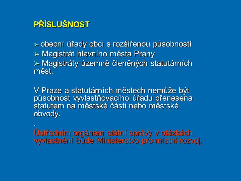 PŘÍSLUŠNOST  - obecní úřady obcí s rozšířenou působností  - Magistrát hlavního města Prahy  - Magistráty územně členěných statutárních měst.