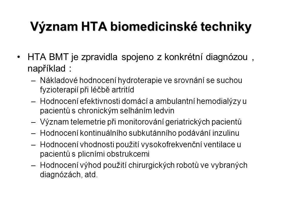 Význam HTA biomedicinské techniky HTA BMT je zpravidla spojeno z konkrétní diagnózou, například : –Nákladové hodnocení hydroterapie ve srovnání se suc