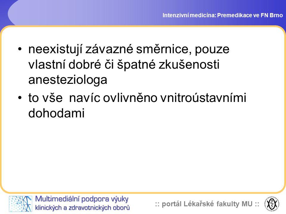 :: portál Lékařské fakulty MU :: děkuji za pozornost Intenzivní medicína: Premedikace ve FN Brno