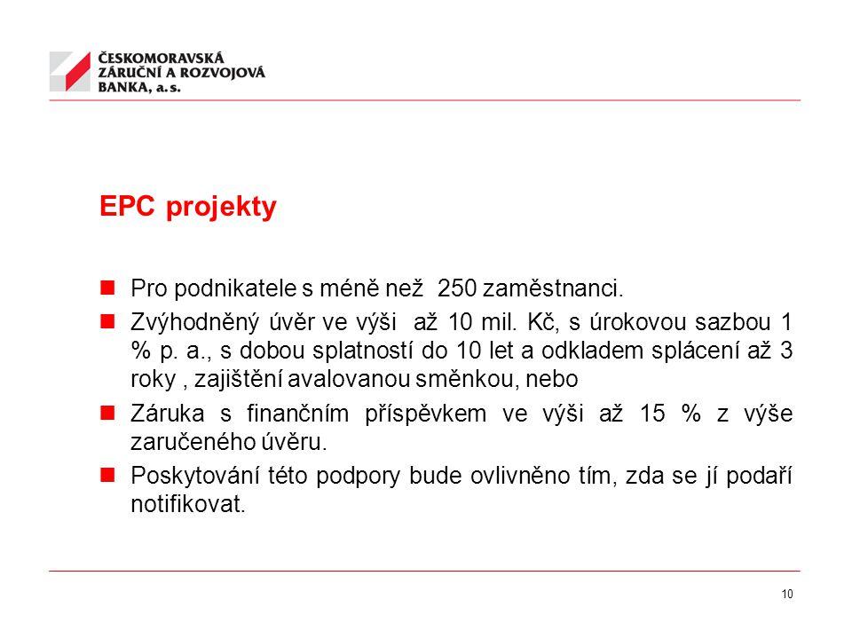10 EPC projekty Pro podnikatele s méně než 250 zaměstnanci.