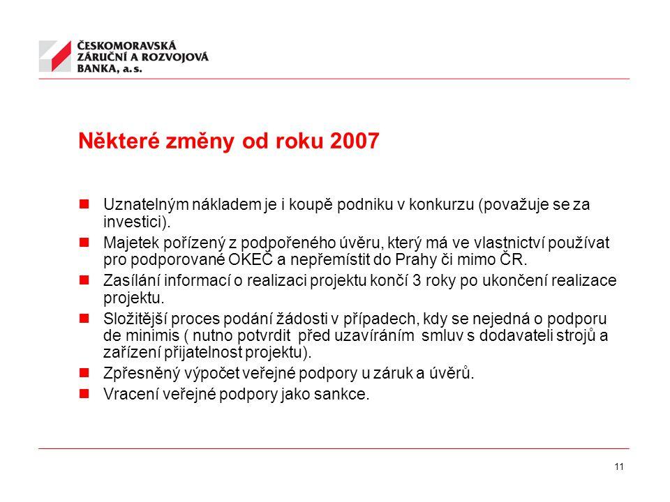 11 Některé změny od roku 2007 Uznatelným nákladem je i koupě podniku v konkurzu (považuje se za investici).