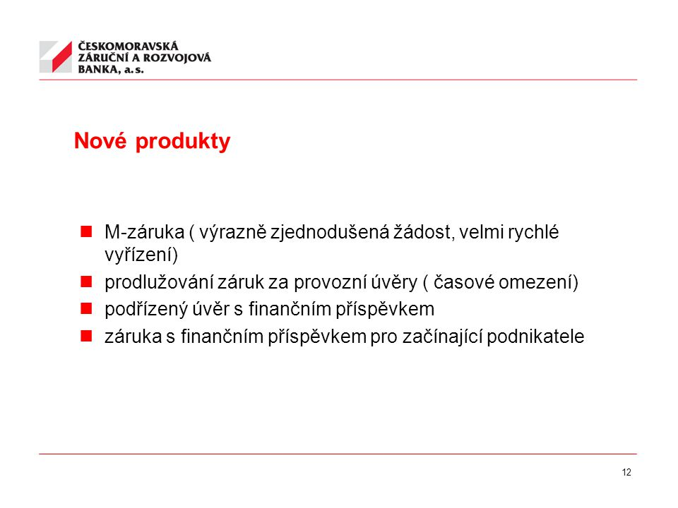 12 Nové produkty M-záruka ( výrazně zjednodušená žádost, velmi rychlé vyřízení) prodlužování záruk za provozní úvěry ( časové omezení) podřízený úvěr s finančním příspěvkem záruka s finančním příspěvkem pro začínající podnikatele