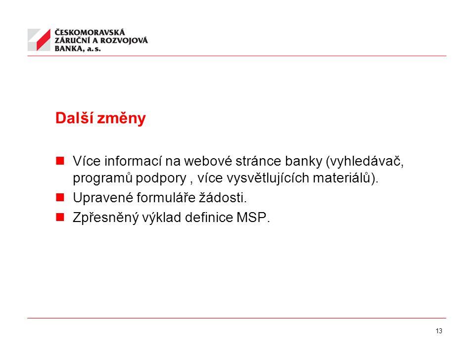 13 Další změny Více informací na webové stránce banky (vyhledávač, programů podpory, více vysvětlujících materiálů).