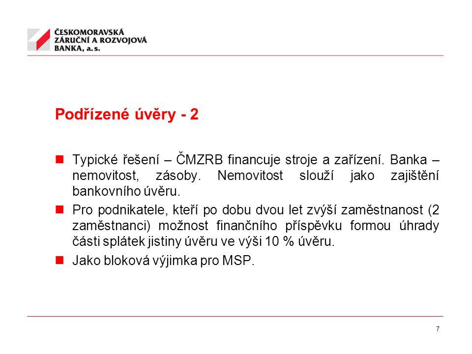 7 Podřízené úvěry - 2 Typické řešení – ČMZRB financuje stroje a zařízení.