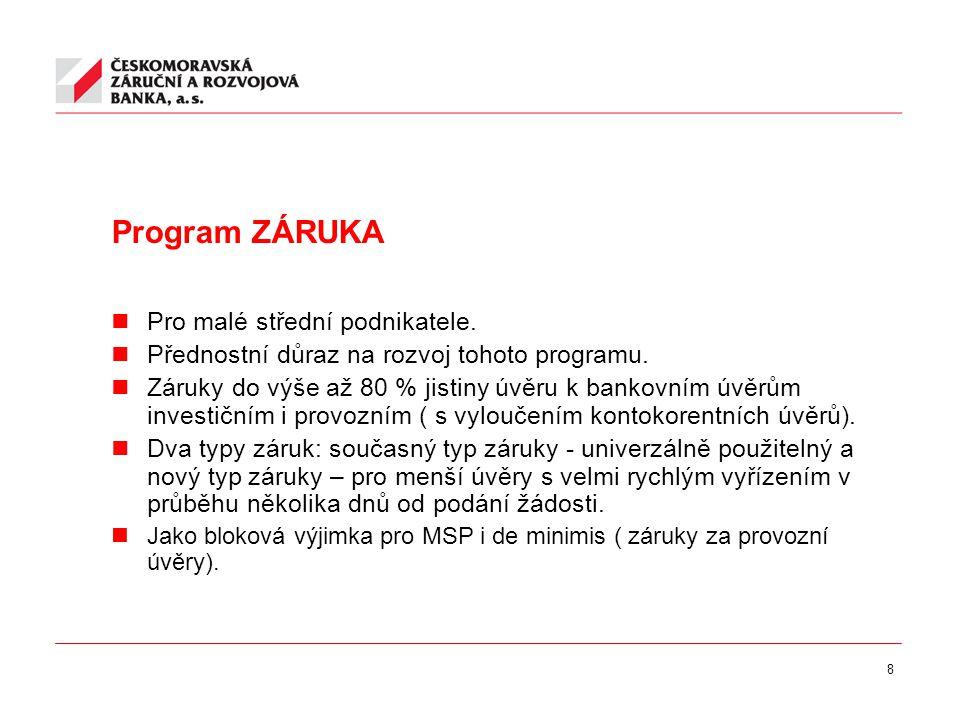 8 Program ZÁRUKA Pro malé střední podnikatele. Přednostní důraz na rozvoj tohoto programu.