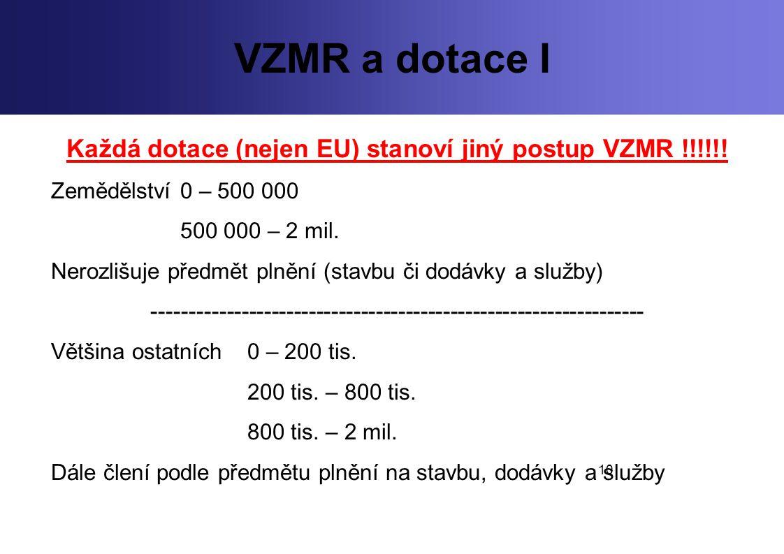 10 VZMR a dotace I Každá dotace (nejen EU) stanoví jiný postup VZMR !!!!!! Zemědělství 0 – 500 000 500 000 – 2 mil. Nerozlišuje předmět plnění (stavbu