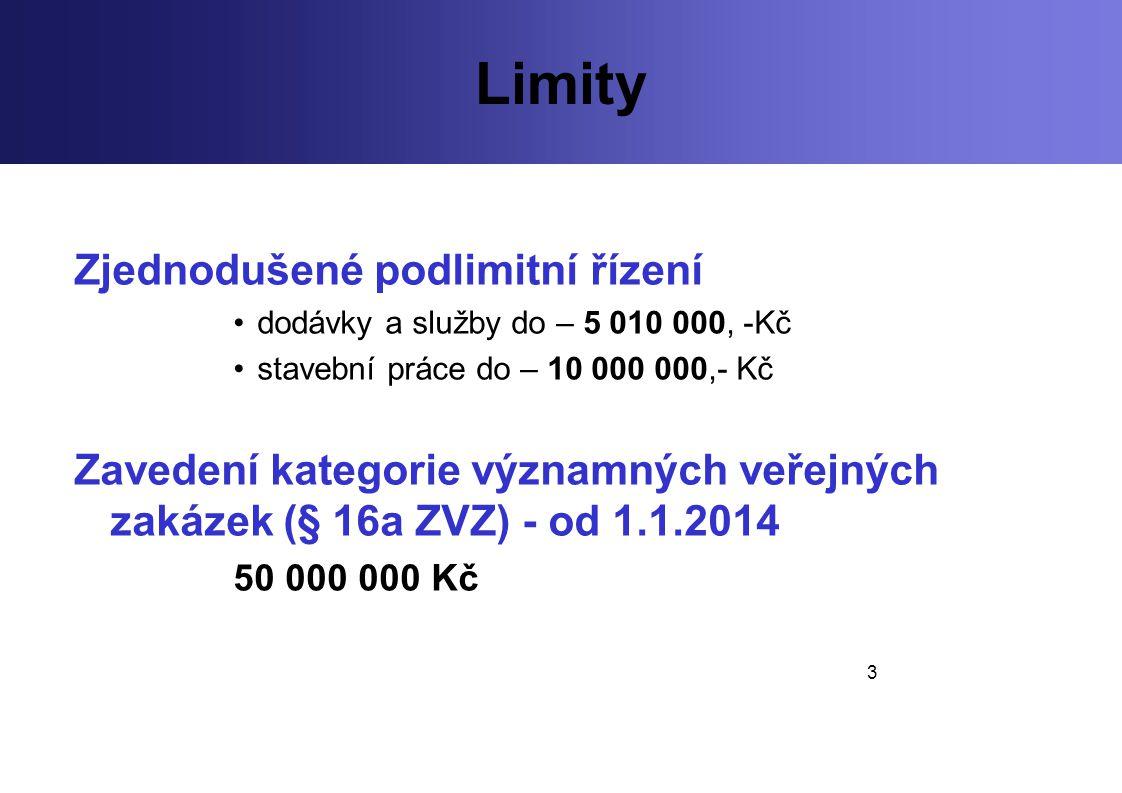 3 Limity Zjednodušené podlimitní řízení dodávky a služby do – 5 010 000, -Kč stavební práce do – 10 000 000,- Kč Zavedení kategorie významných veřejný
