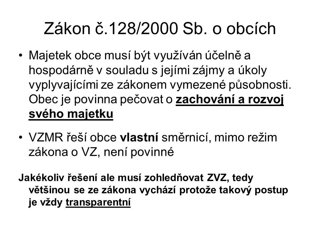 Zákon č.128/2000 Sb. o obcích Majetek obce musí být využíván účelně a hospodárně v souladu s jejími zájmy a úkoly vyplyvajícími ze zákonem vymezené pů