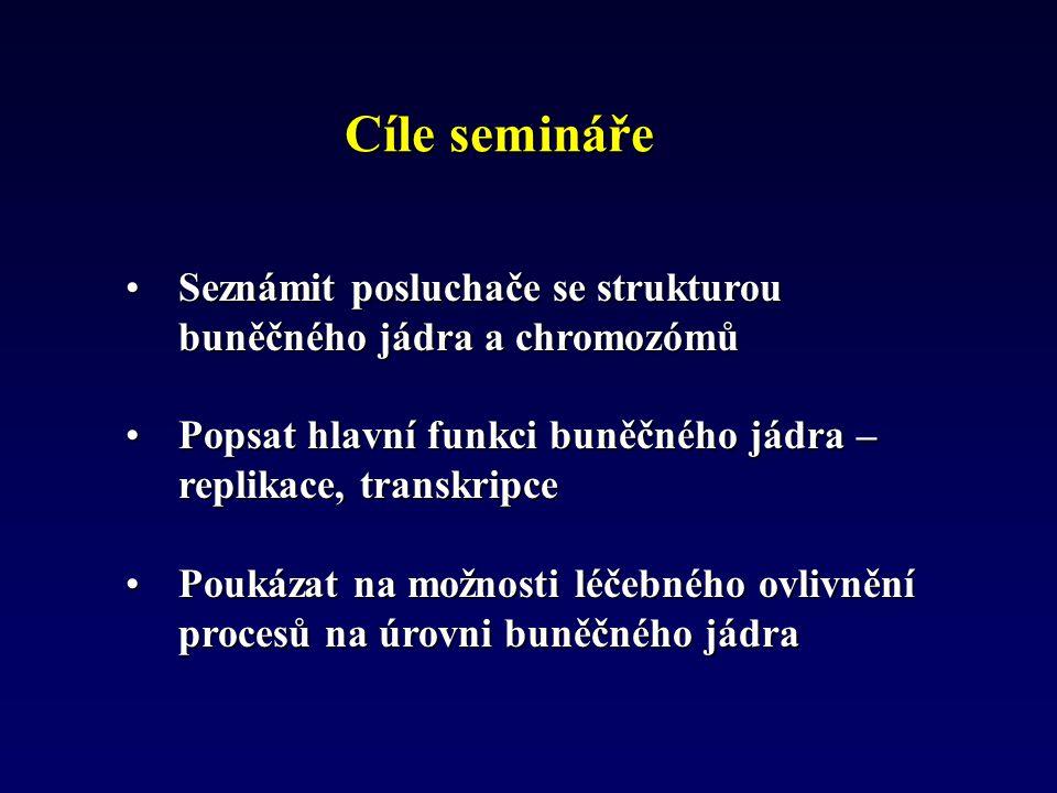 Cíle semináře Seznámit posluchače se strukturou buněčného jádra a chromozómůSeznámit posluchače se strukturou buněčného jádra a chromozómů Popsat hlav