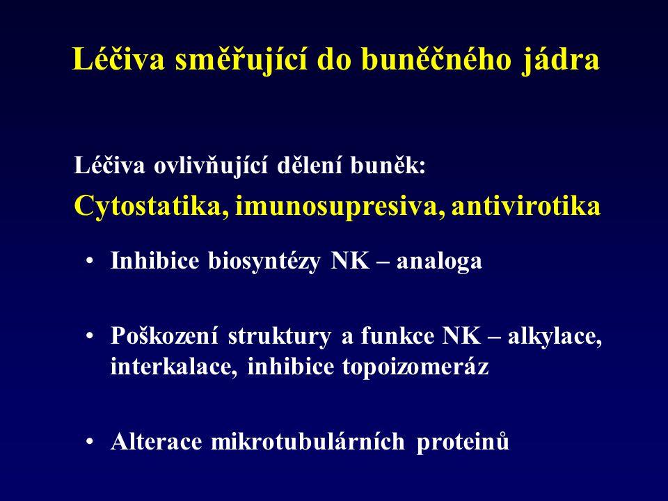 Léčiva směřující do buněčného jádra Inhibice biosyntézy NK – analoga Poškození struktury a funkce NK – alkylace, interkalace, inhibice topoizomeráz Al
