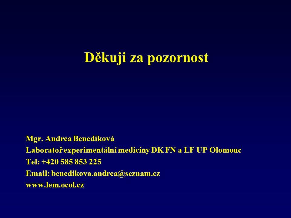 Děkuji za pozornost Mgr. Andrea Benedíková Laboratoř experimentální medicíny DK FN a LF UP Olomouc Tel: +420 585 853 225 Email: benedikova.andrea@sezn