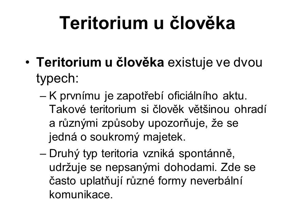 Teritorium u člověka Teritorium u člověka existuje ve dvou typech: –K prvnímu je zapotřebí oficiálního aktu. Takové teritorium si člověk většinou ohra