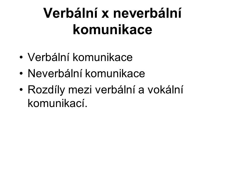 Verbální x neverbální komunikace Verbální komunikace Neverbální komunikace Rozdíly mezi verbální a vokální komunikací.