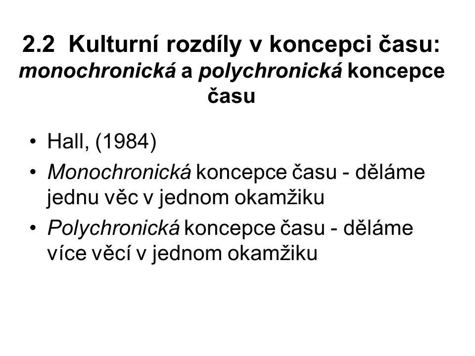 2.2 Kulturní rozdíly v koncepci času: monochronická a polychronická koncepce času Hall, (1984) Monochronická koncepce času - děláme jednu věc v jednom okamžiku Polychronická koncepce času - děláme více věcí v jednom okamžiku