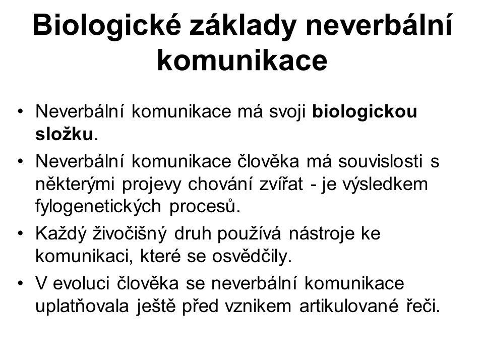 Biologické základy neverbální komunikace Neverbální komunikace má svoji biologickou složku.