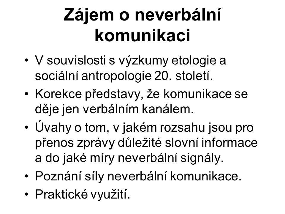 Zájem o neverbální komunikaci V souvislosti s výzkumy etologie a sociální antropologie 20.