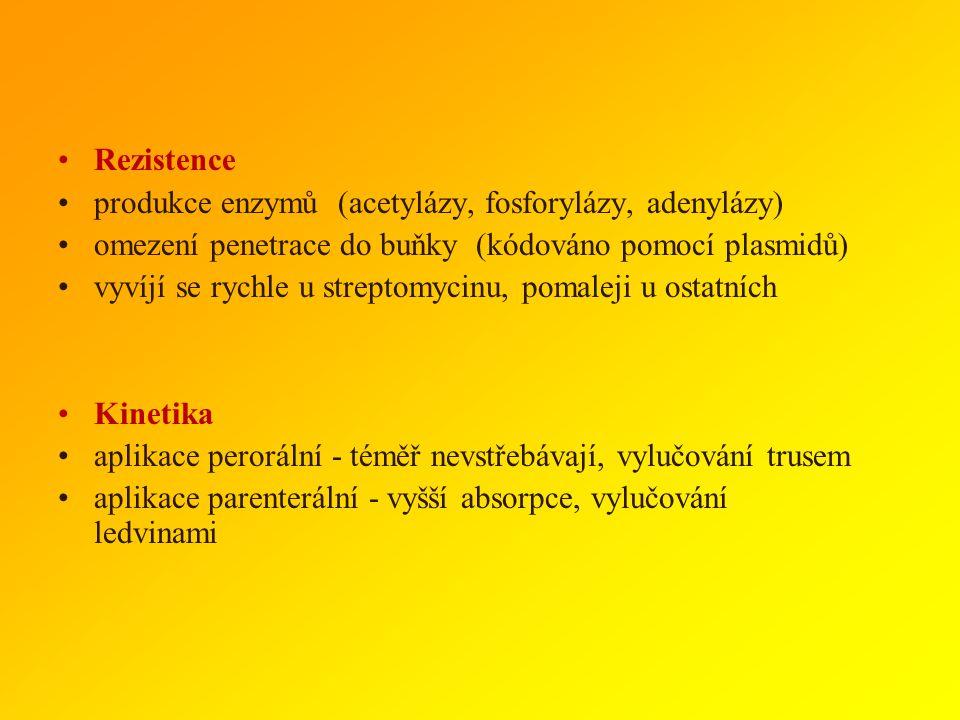 AMINOGLYKOSIDY Spektrum úzkospektré (základní) streptomycin a dihydrostreptomycin (salmonely, leptospiry, mykobakteria) širokospektré (II. a III. gene