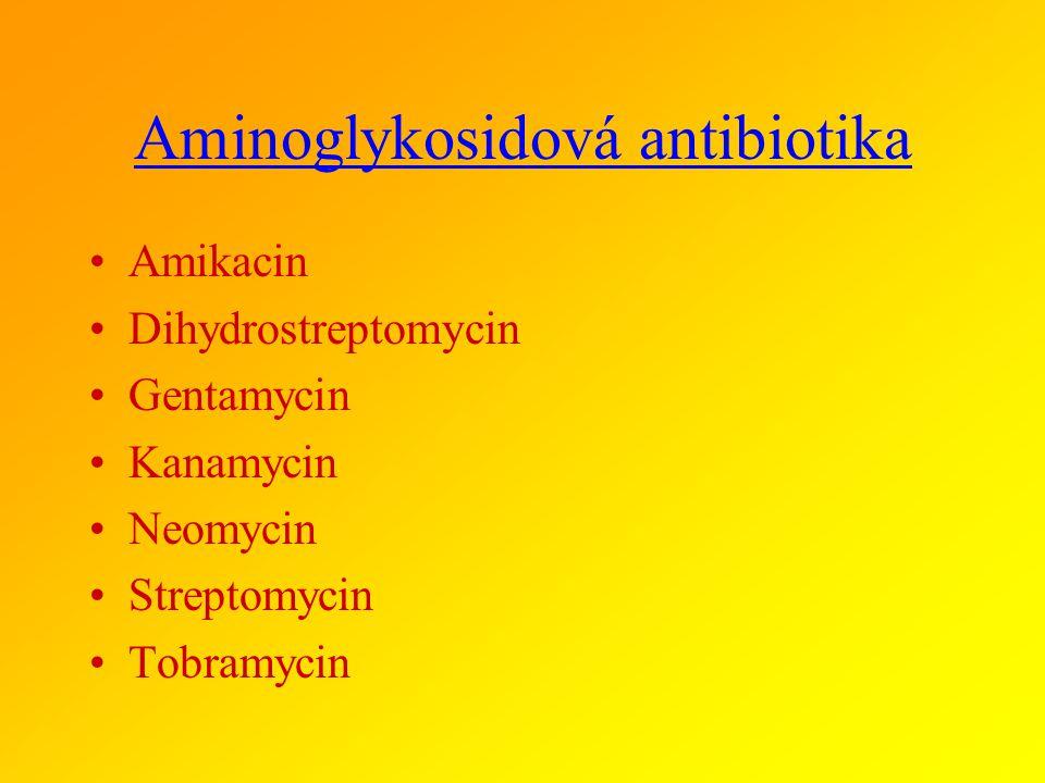 AMINOGLYKOSIDY podskupiny a zástupci ve veterinární medicíně AMINOGLYKOSIDY ZÁKLADNÍ streptomycin, dihydrostreptomycin, neomycin, apramycin AMINOGLYKO