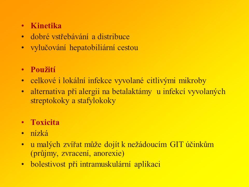 MAKROLIDY Spektrum relativně široké G+ i G-, s výjimkou enterobakterií a pseudomonád Mechanismus účinku inhibice proteosyntézy -vazba na 50 S podjedno
