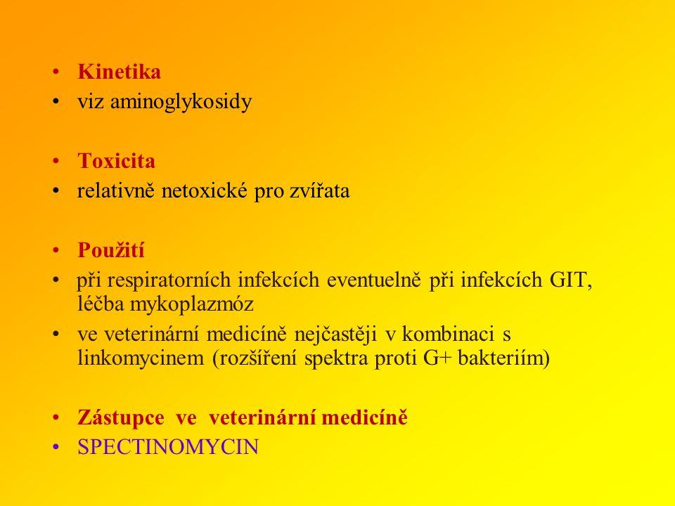 AMINOCYKLITOLY Spektrum mykoplasmata, G- bakterie Mechanismus účinku inhibice proteosyntézy v terapeut. koncentracích BAKTERIOSTATICKÉ Rezistence rych