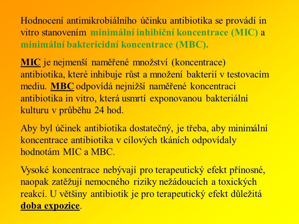 Hodnocení antimikrobiálního účinku antibiotika se provádí in vitro stanovením minimální inhibiční koncentrace (MIC) a minimální baktericidní koncentrace (MBC).