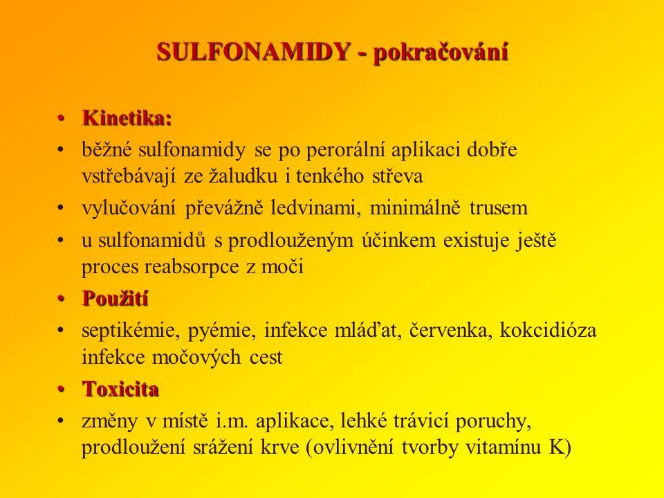 SULFONAMIDY Chemicky se jedná o sulfanilamidy, obsahující : benzolové jádro s aminoskupinou NH 2 sulfamidovou skupinou (SO 2 NH 2 ) SpektrumSpektrum p