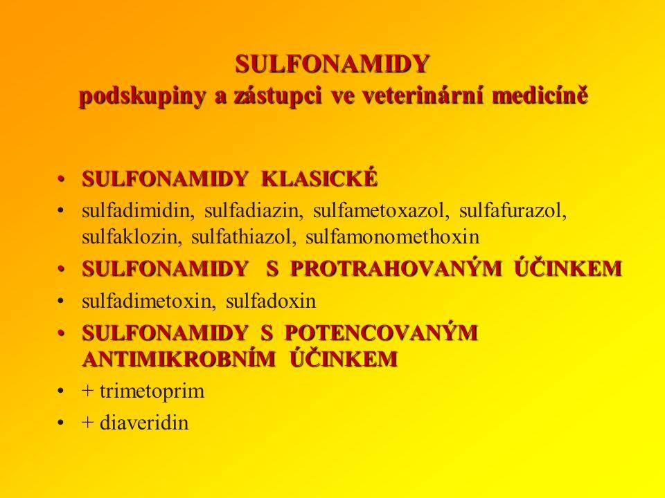 SULFONAMIDY - pokračování Kinetika:Kinetika: běžné sulfonamidy se po perorální aplikaci dobře vstřebávají ze žaludku i tenkého střeva vylučování převá