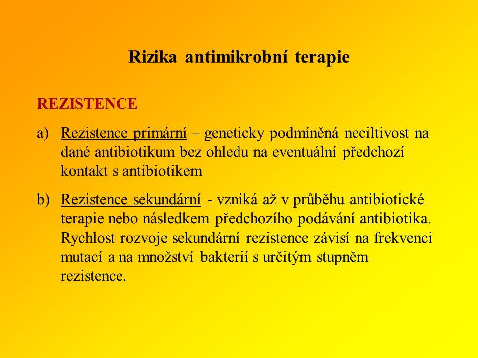 Rizika antimikrobní terapie REZISTENCE a)Rezistence primární – geneticky podmíněná neciltivost na dané antibiotikum bez ohledu na eventuální předchozí kontakt s antibiotikem b)Rezistence sekundární - vzniká až v průběhu antibiotické terapie nebo následkem předchozího podávání antibiotika.