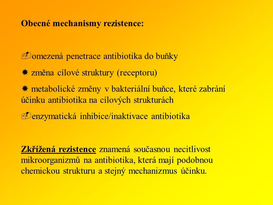 Obecné mechanismy rezistence:  omezená penetrace antibiotika do buňky  změna cílové struktury (receptoru)  metabolické změny v bakteriální buňce, které zabrání účinku antibiotika na cílových strukturách  enzymatická inhibice/inaktivace antibiotika Zkřížená rezistence znamená současnou necitlivost mikroorganizmů na antibiotika, která mají podobnou chemickou strukturu a stejný mechanizmus účinku.