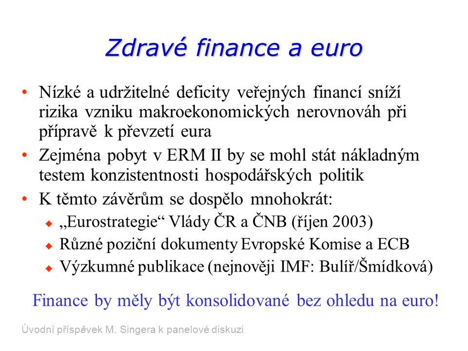"""Zdravé finance a euro Nízké a udržitelné deficity veřejných financí sníží rizika vzniku makroekonomických nerovnováh při přípravě k převzetí eura Zejména pobyt v ERM II by se mohl stát nákladným testem konzistentnosti hospodářských politik K těmto závěrům se dospělo mnohokrát:  """"Eurostrategie Vlády ČR a ČNB (říjen 2003)  Různé poziční dokumenty Evropské Komise a ECB  Výzkumné publikace (nejnověji IMF: Bulíř/Šmídková) Úvodní příspěvek M."""