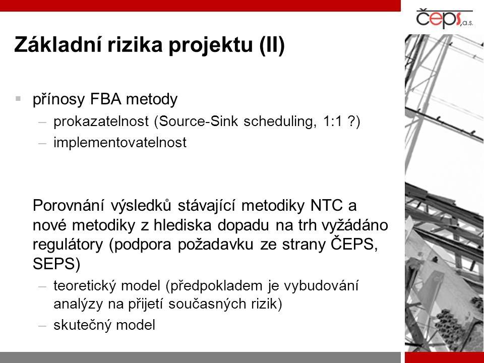 Základní rizika projektu (II)  přínosy FBA metody –prokazatelnost (Source-Sink scheduling, 1:1 ) –implementovatelnost Porovnání výsledků stávající metodiky NTC a nové metodiky z hlediska dopadu na trh vyžádáno regulátory (podpora požadavku ze strany ČEPS, SEPS) –teoretický model (předpokladem je vybudování analýzy na přijetí současných rizik) –skutečný model