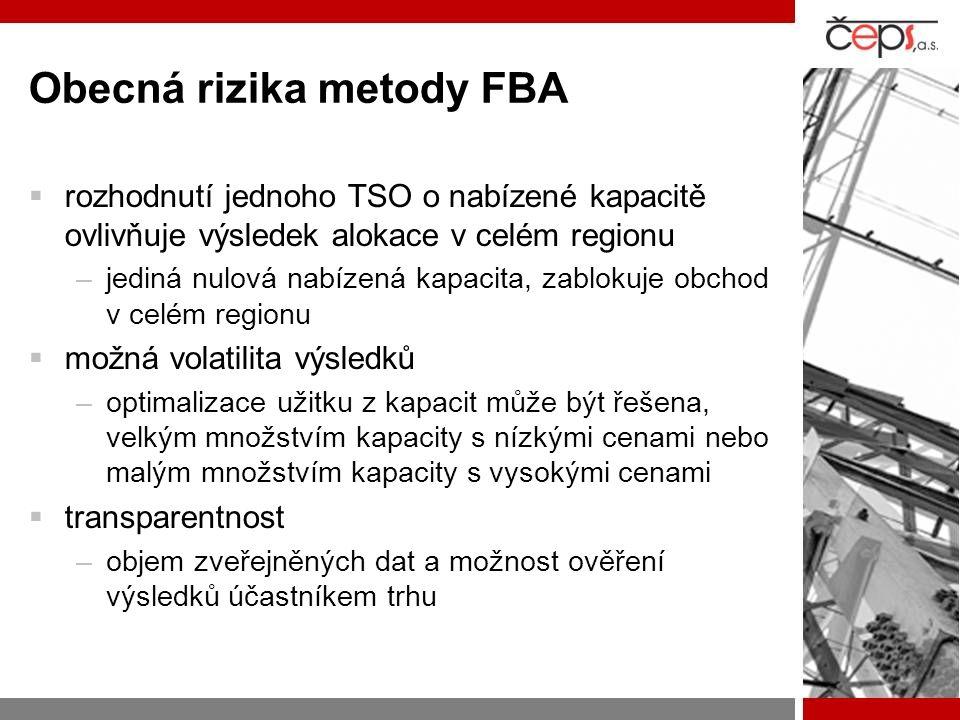 Obecná rizika metody FBA  rozhodnutí jednoho TSO o nabízené kapacitě ovlivňuje výsledek alokace v celém regionu –jediná nulová nabízená kapacita, zablokuje obchod v celém regionu  možná volatilita výsledků –optimalizace užitku z kapacit může být řešena, velkým množstvím kapacity s nízkými cenami nebo malým množstvím kapacity s vysokými cenami  transparentnost –objem zveřejněných dat a možnost ověření výsledků účastníkem trhu