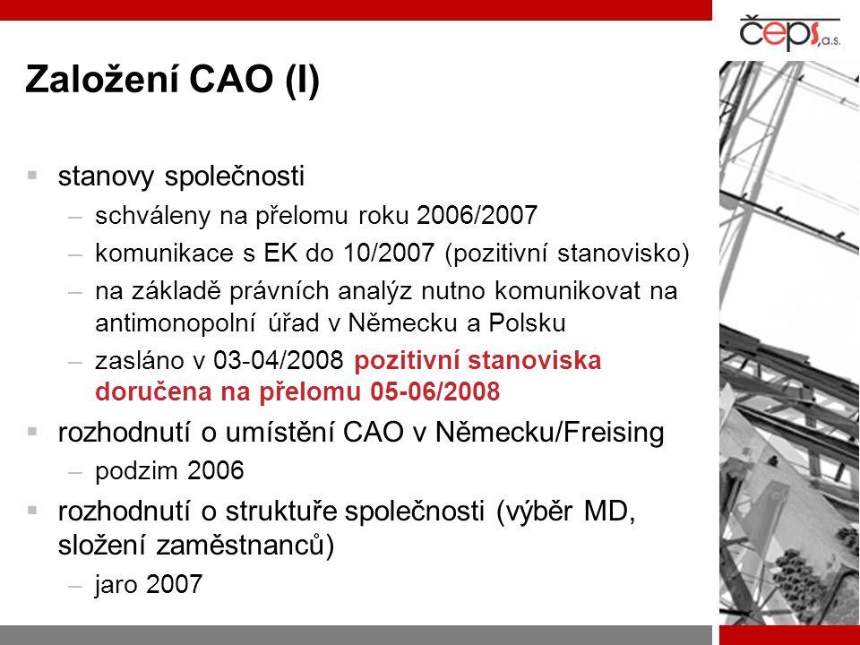 Založení CAO (I)  stanovy společnosti –schváleny na přelomu roku 2006/2007 –komunikace s EK do 10/2007 (pozitivní stanovisko) –na základě právních analýz nutno komunikovat na antimonopolní úřad v Německu a Polsku –zasláno v 03-04/2008 pozitivní stanoviska doručena na přelomu 05-06/2008  rozhodnutí o umístění CAO v Německu/Freising –podzim 2006  rozhodnutí o struktuře společnosti (výběr MD, složení zaměstnanců) –jaro 2007
