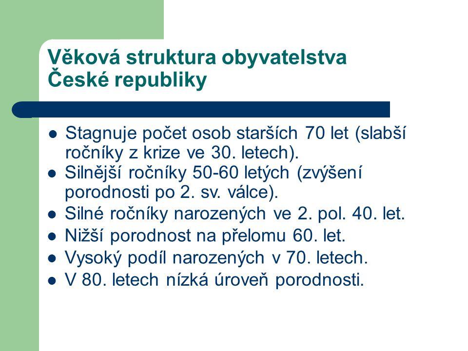 Věková struktura obyvatelstva České republiky Stagnuje počet osob starších 70 let (slabší ročníky z krize ve 30. letech). Silnější ročníky 50-60 letýc